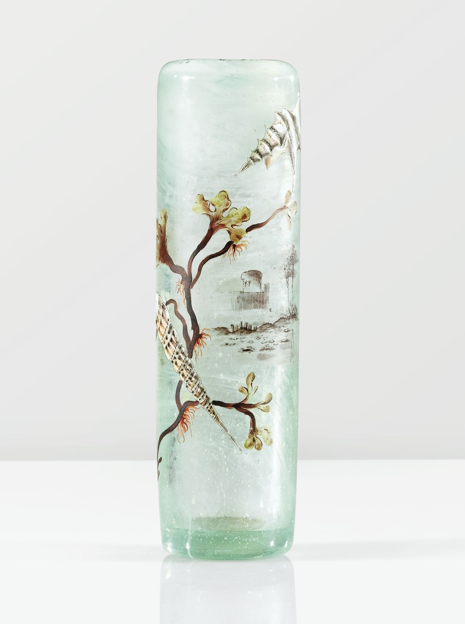 AN INTERNALLY DECORATED MOULD BLOWN ART-GLASS VASE WITH ENAMELLED AND PARTIALLY GILT DESIGN BY EMILE GALLÉ, CIRCA 1878-1884. SIGNED ♥≻★≺♥