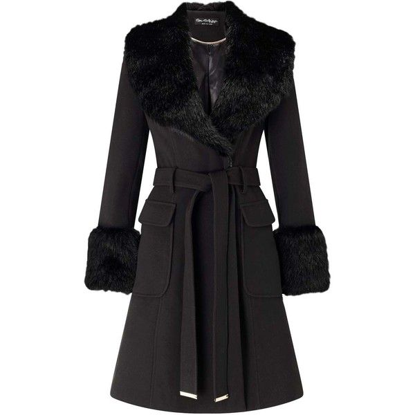666502786ae Miss Selfridge Black Faux Fur Cuff And Collar Coat (5
