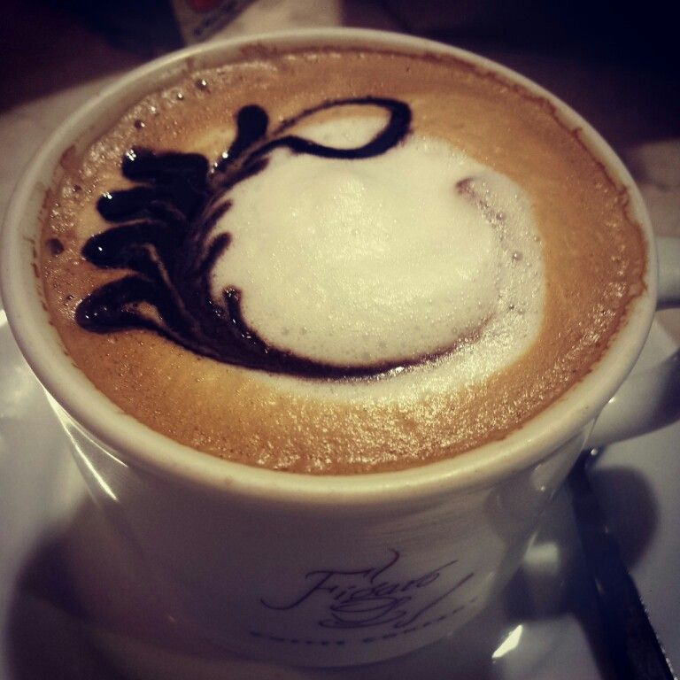 Cappuccino. Coffee art.
