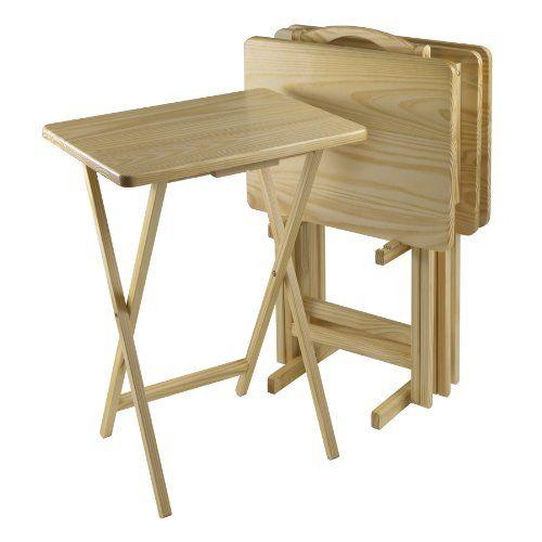 Winsome 5-Piece Tv Table Set, Rectangular, Natural Pine Wood ...