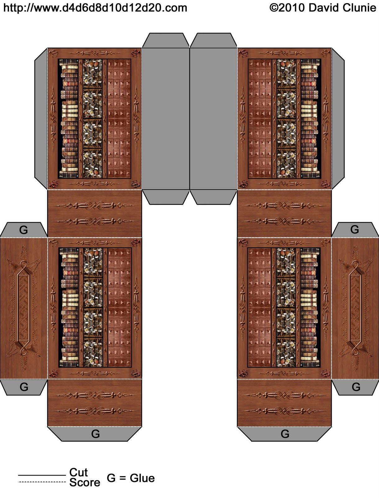 D4d6d8d10d12d20 Free Bookcase Paper Model Paper Craft