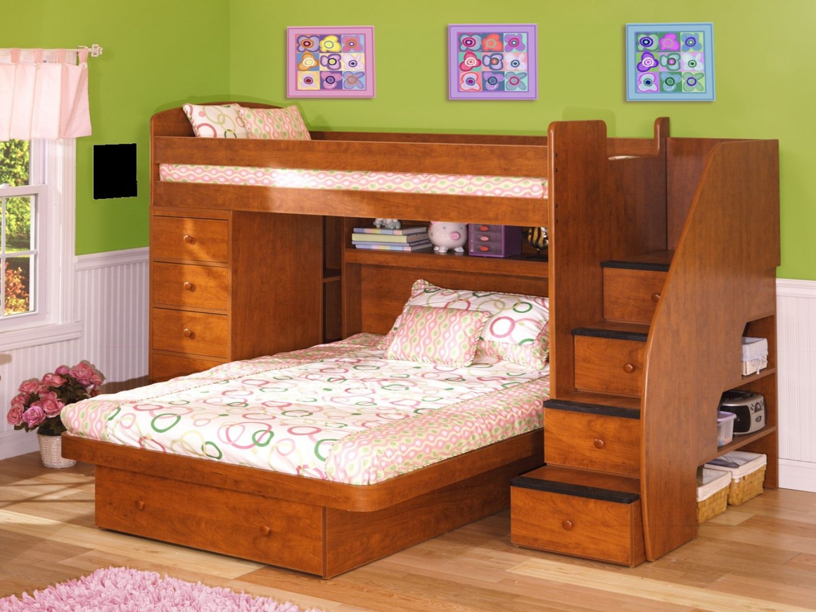 Shabby Chic Childrens Bedroom Furniture Furniture L Shaped Loft Beds Level Small Space Bed Children Beds