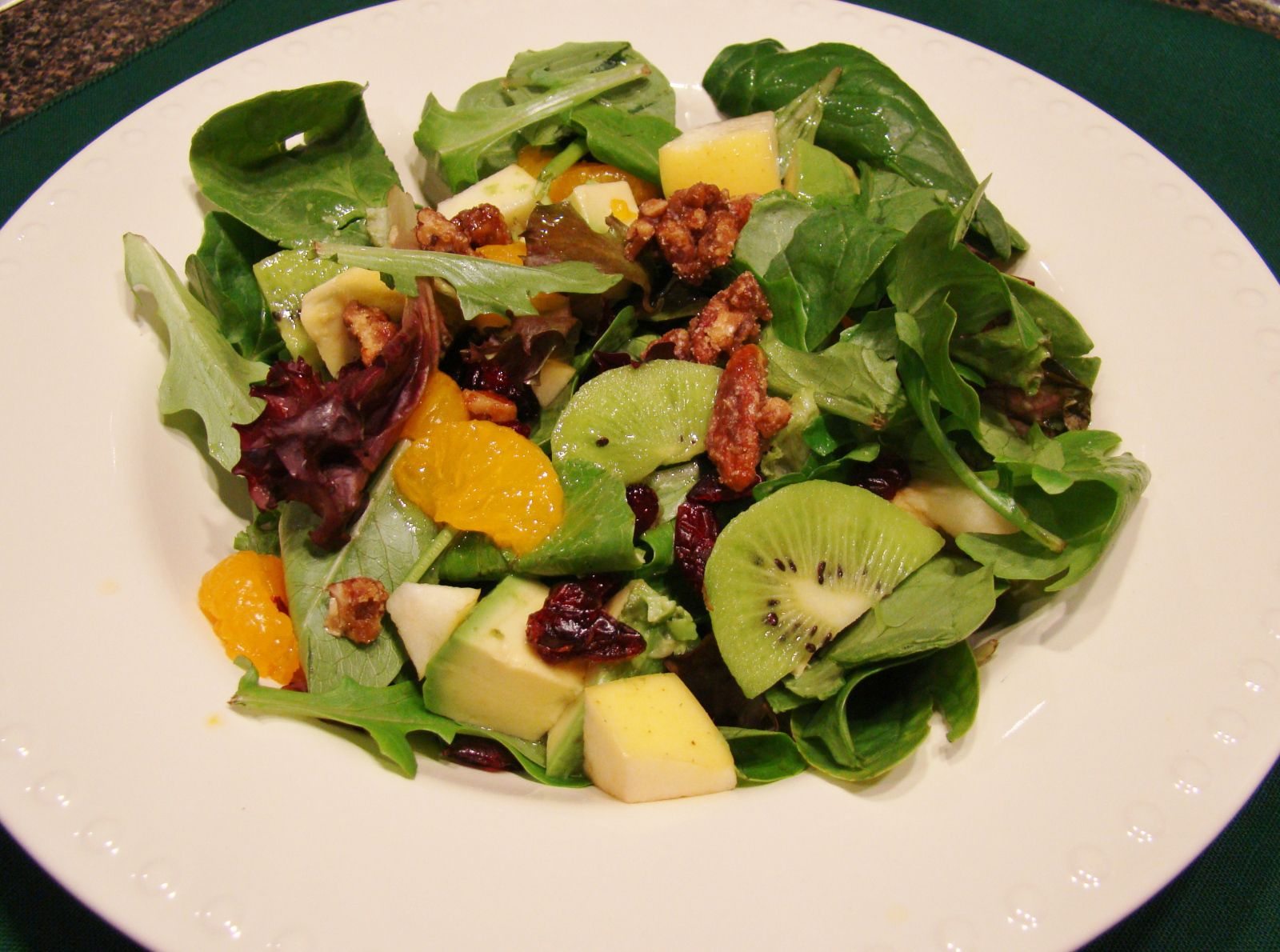 Candied Pecan, Fruit, and Avocado Salad with O'Hana Tropical Dressing