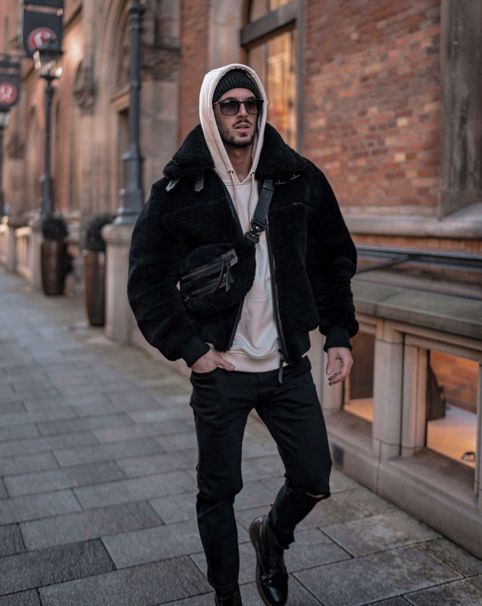 Raven Men S Double Shearling Leather Jacket In Black Mens Shearling Jacket Black Shearling Jacket Hoodie Outfit Men [ 1196 x 952 Pixel ]