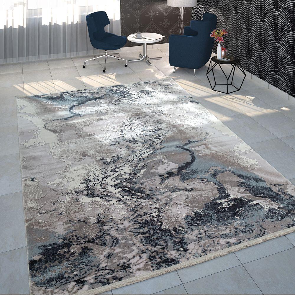 Kurzflor Teppich Marmor Design Grau Teppich Wohnzimmer