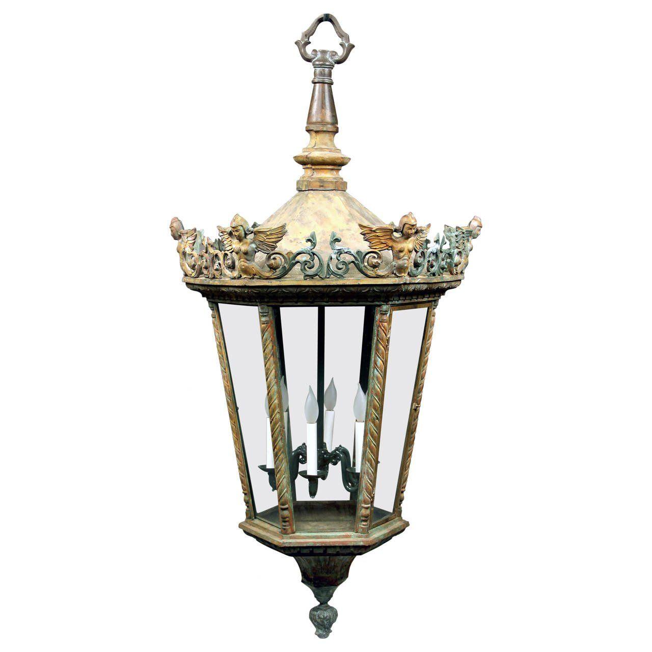 Large Late 19th Century Bronze Six Light Street Lantern Antique Lanterns Lanterns Chandelier