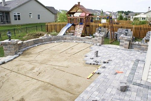 Gentil Small Square Backyard Landscaping   This Picture Shows The Paving Phase Of Patio  Construction In Which