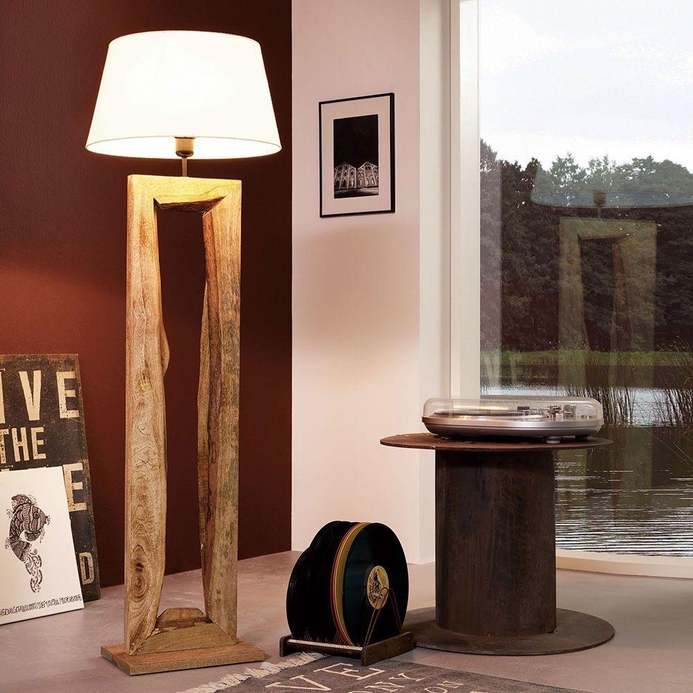 Licht-Trend Timber Stehleuchte mit Holzfuß h126 cm / Braun / Holz ...