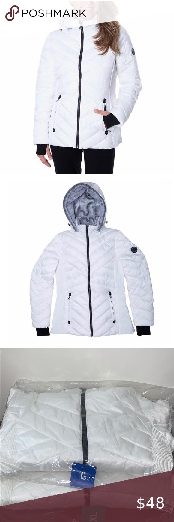 Nautica Ladies Hooded Puffer Jacket White Puffer Jacket Women Faux Fur Hooded Coat Coats Jackets Women [ 1740 x 580 Pixel ]