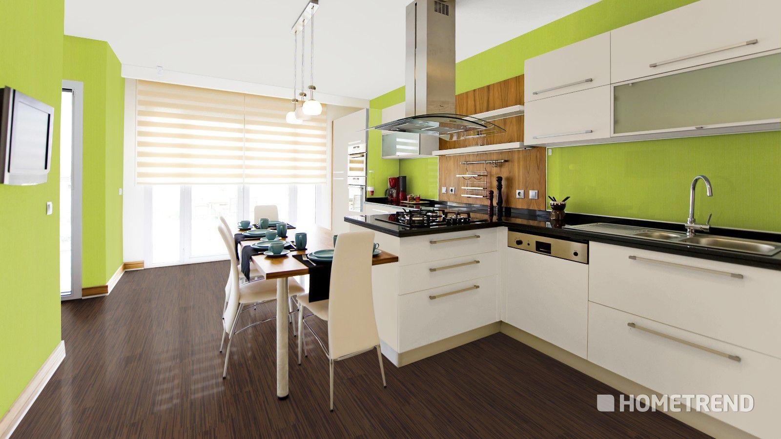 Modern Und Frisch Wirken Küchen In Hellem Grün. Der Dunkle Designboden In  Holzoptik Nimmt Den
