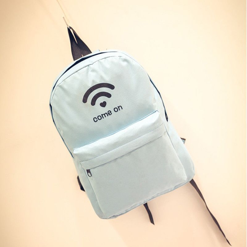 Good-Quality Inexpensive Simple Solid Color WIFI Signal Print Casual Backpack 12 Colors