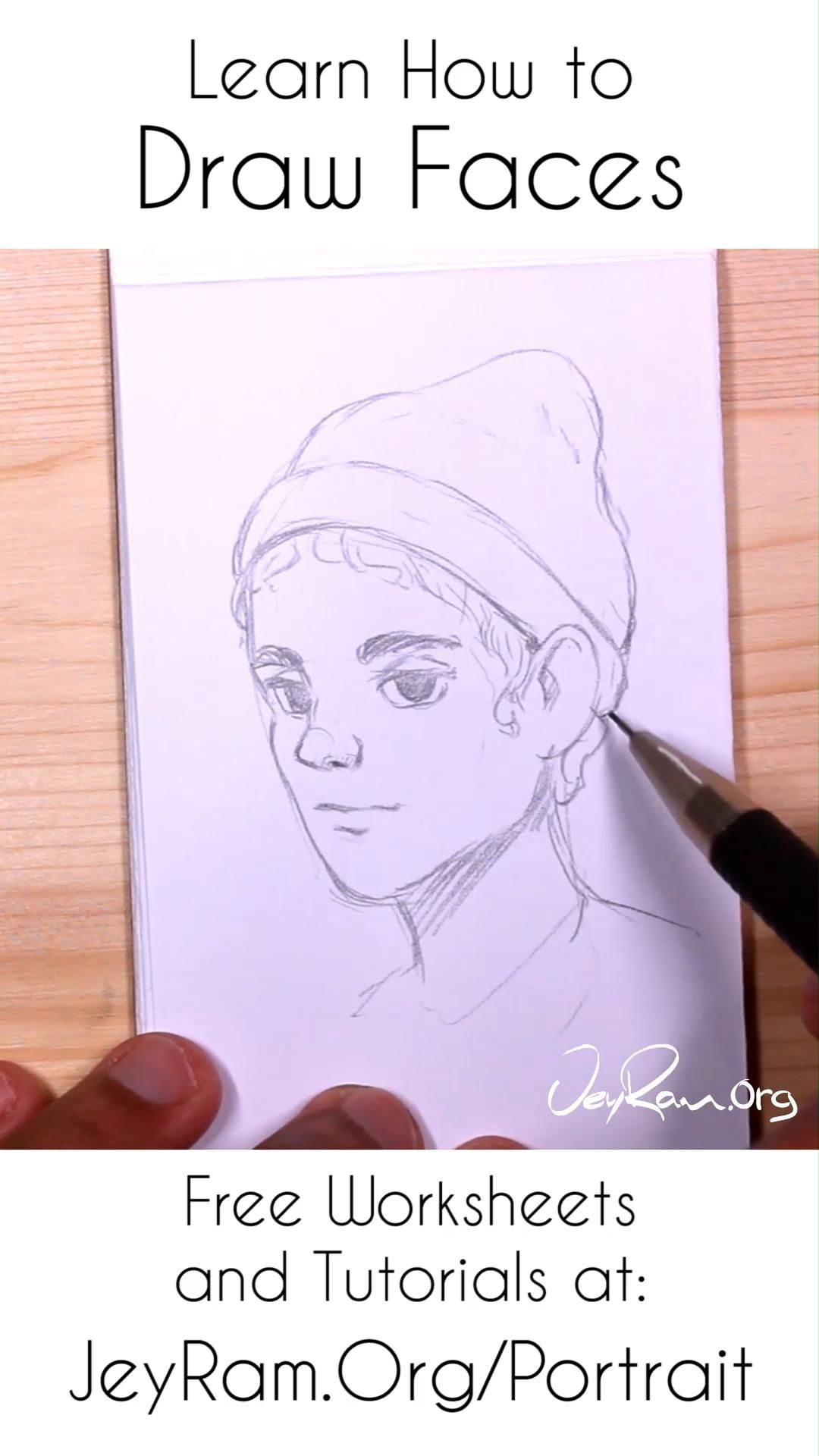 Learn How To Draw Simple Faces Worksheets Tutorials Video In 2020 Drawings Face Drawing Drawing Tutorial