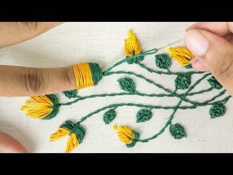 Amazing Hand Embroidery: Learn Flower Ideas with Tricks - YouTube #flowerpatterndesign