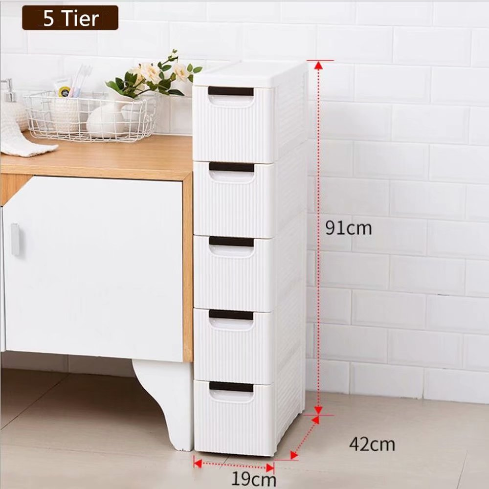 5 Tire Rolling Cart Organizer Unit With Wheels Narrow Slim Container Storage Cabinet For Bathroom Bedroom Walmart Com In 2020 Narrow Storage Cabinet Storage Cabinet Storage Containers With Drawers