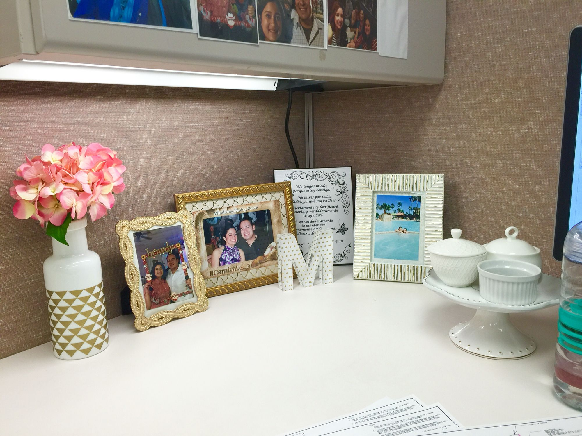 My cubicle decor and organization the cake stand has 3 for Cute cubicle ideas