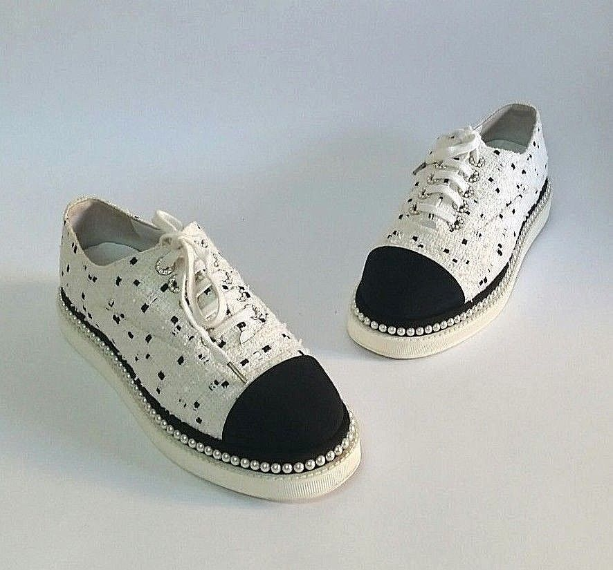 d6a8d36f8b6 Overall Condition  Gently used Designer  Chanel Material  Black White Tweed  and Pearl Includes  Box