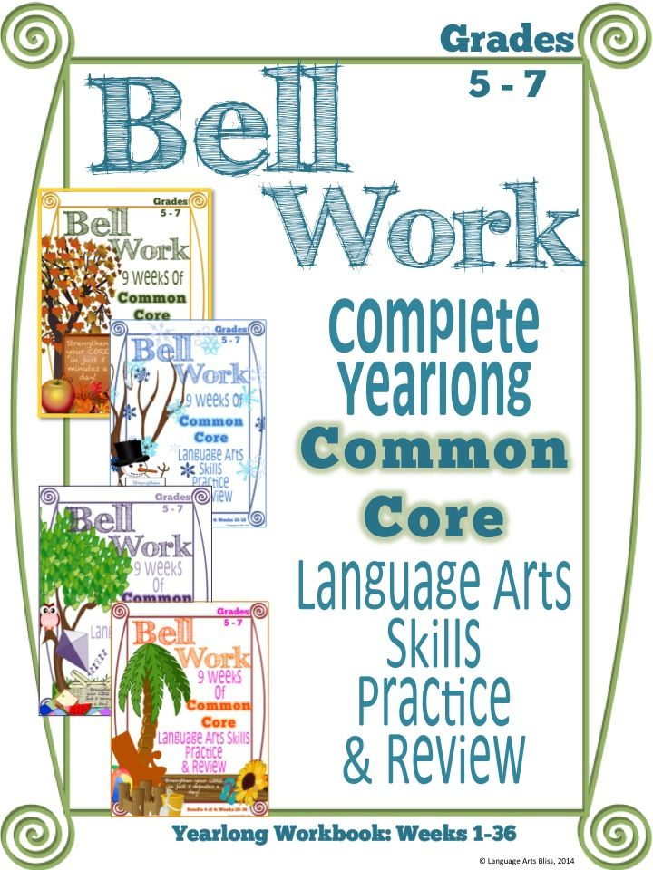 Bell Work Language Arts Yearlong Workbook Middle Grades