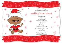 Christmas Baby African American - Greeting Cards and Baby Shower Invitations With Squiggle Shape