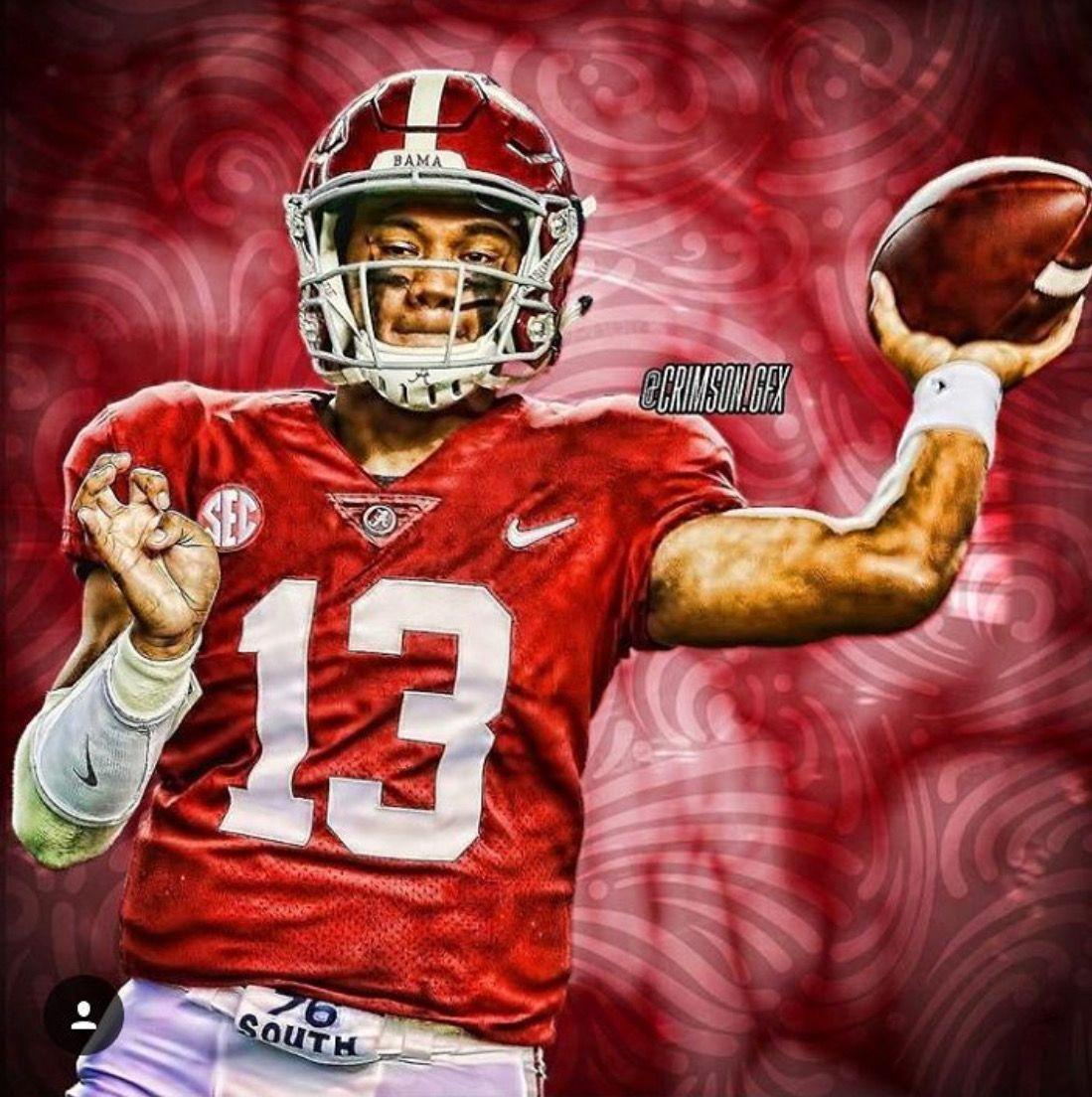Tua Tagovailoa 13 Alabama Rolltide Bama Builtbybama Rtr Crimsontide Rammerja Alabama Crimson Tide Football Alabama Crimson Tide Alabama Football Team