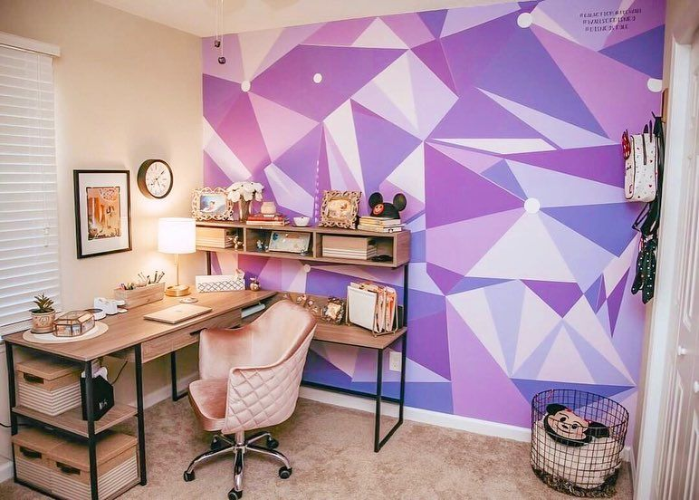 Galactic Purple Wall At Home Purple Home Offices Disney Home Disney Room Decor
