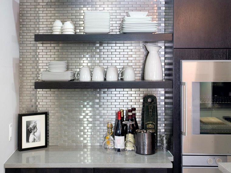 Panel de cocina: 50 ideas para la pared de la cocina   Color plata ...