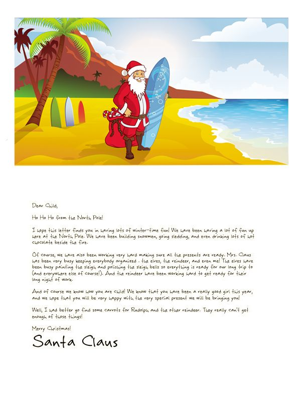 Easy free letter from santa magical package santa personalised christmas in australia our surfing santa is the perfect letter from santa for your little spiritdancerdesigns