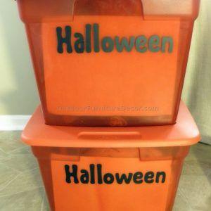 Orange Halloween Storage Bins