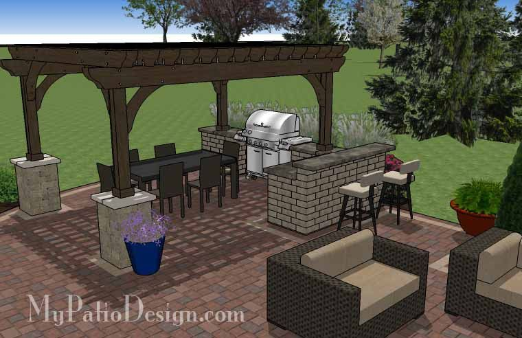 Outdoor Entertainment Patio Design With Pergola And Bar | 855 Sq Ft |  Download Installation Plan