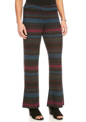 New Directions  Petite Ribbed Hacci Aztec Stripe Soft Pant
