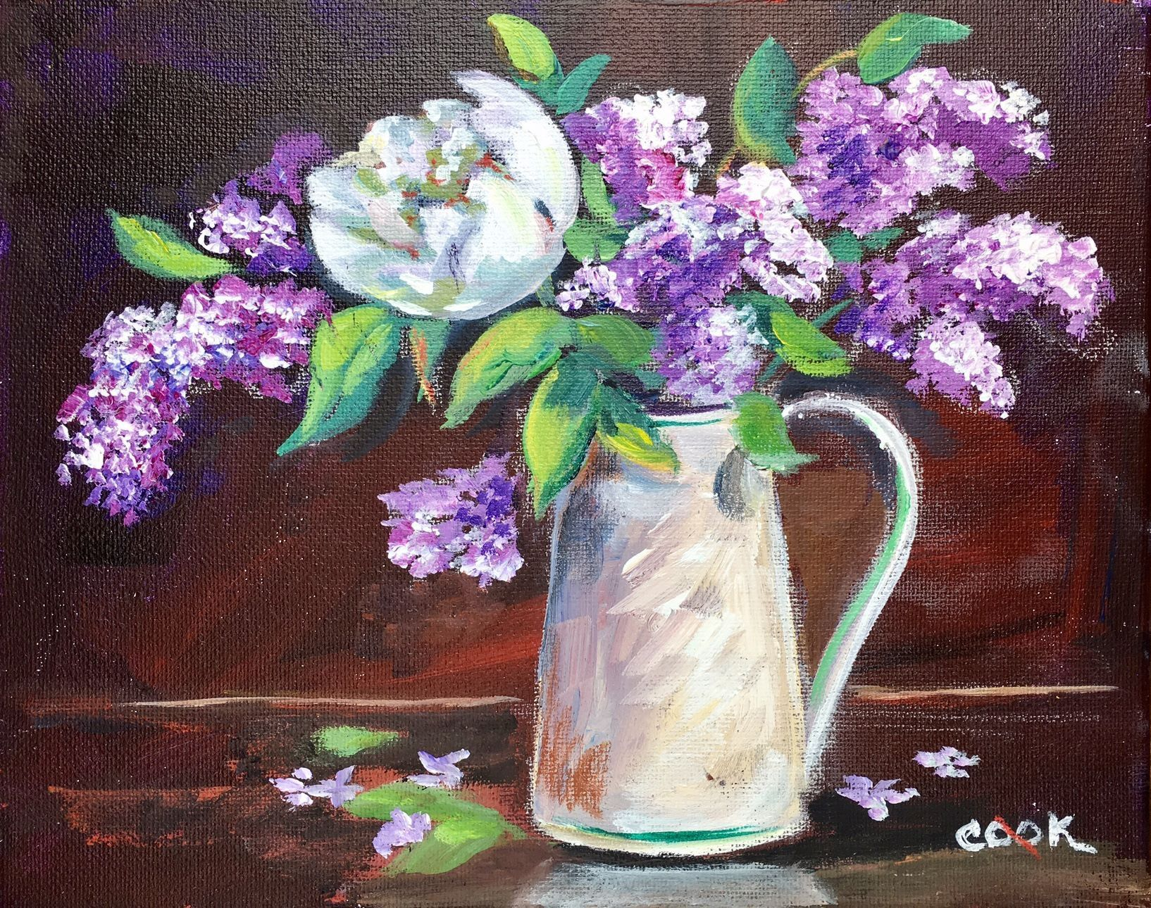 This step by step painting of Lilacs in a white vase starts with a blended  background that is then dried and the vase and flowers are easily chalked  in.