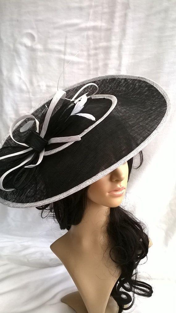 55af4ae91 Juliet bow Black & White Hatinator..Stunning Black Sinamay ...