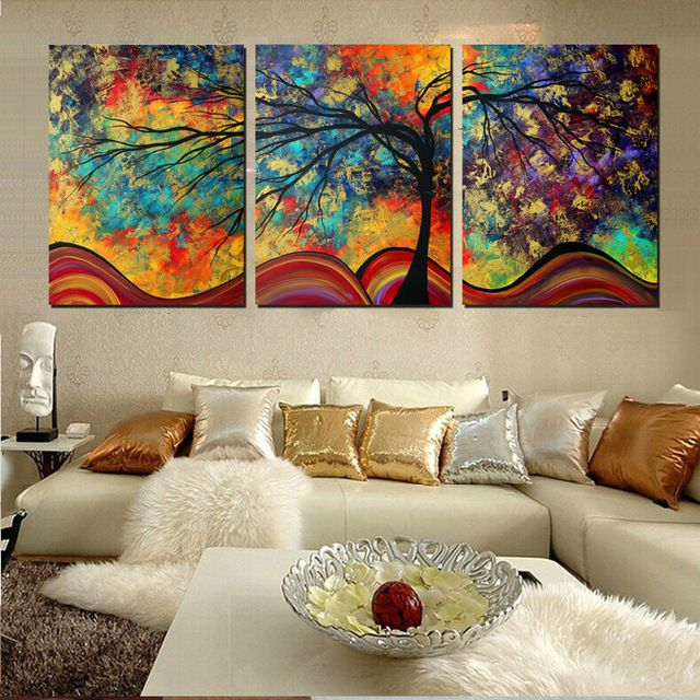 Gran arte de la pared decoraci n del rbol abstracto for Cuadros tripticos online