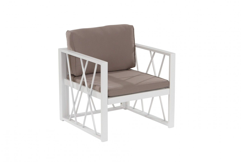 Santorin Sessel Aluminium mit Kissen Taupe  demontierbar er Santorin Sessel mit Kissen in der Farbe Taupe