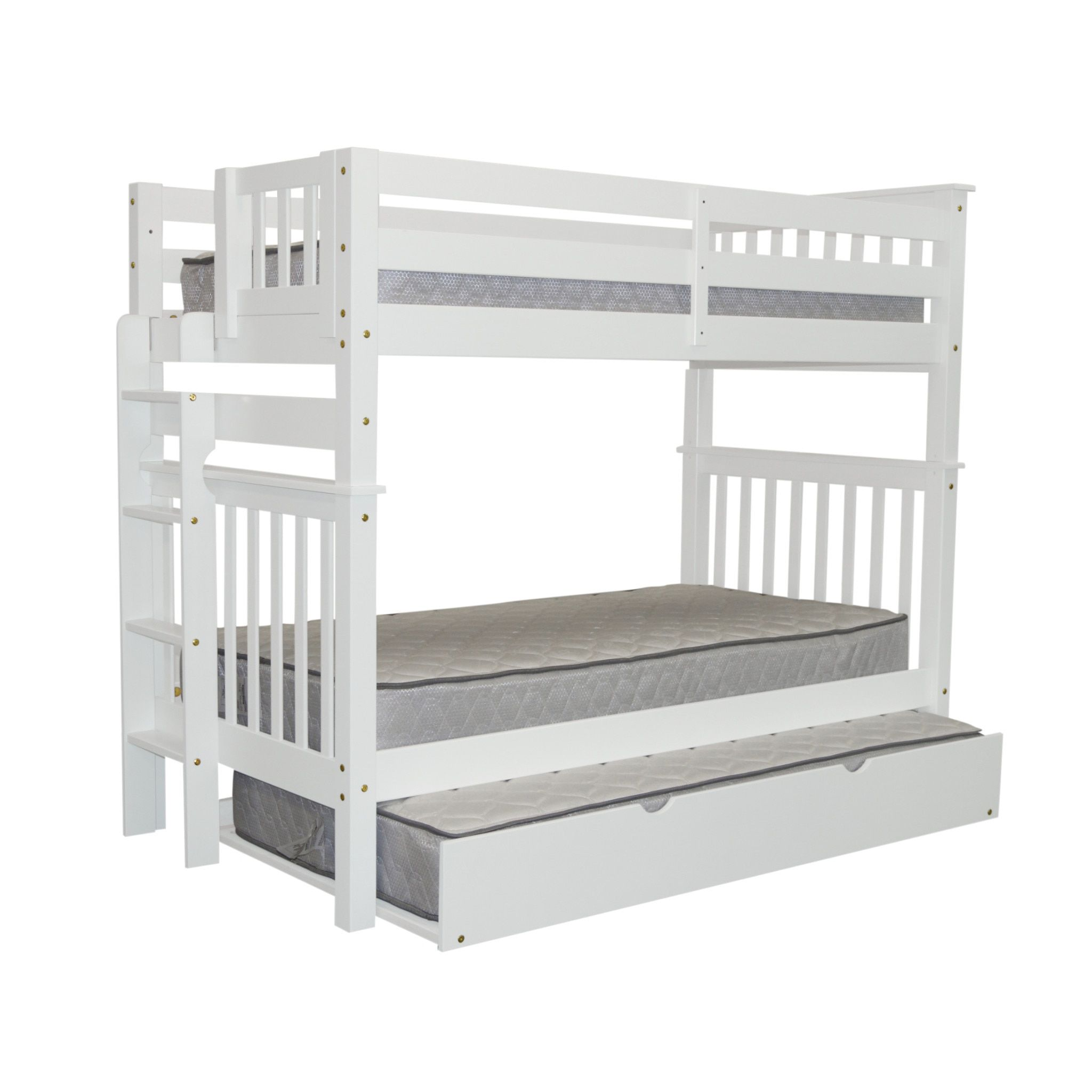 Bedz King Tall Mission Style Bunk Bed Over With End Ladder And A Trundle