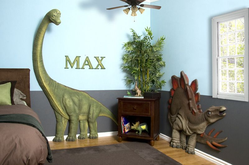 Kids Bedrooms With Dinosaur Themed Wall Art And Murals With