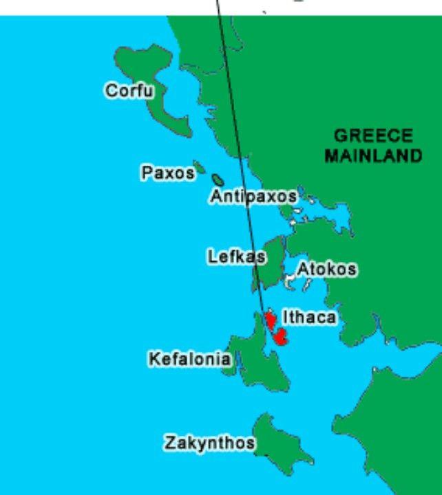 Map of the Ionian Islands  Greece Italy Berlin  JulyAug 2013