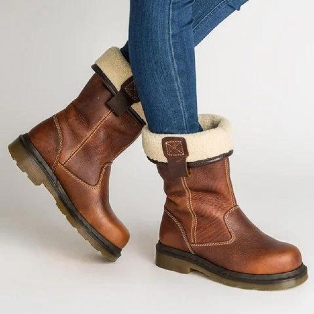 Retro Women/'s Mid-Calf Boots Winter Fur Warm Casual Shoes Round Toe Chunky Heels