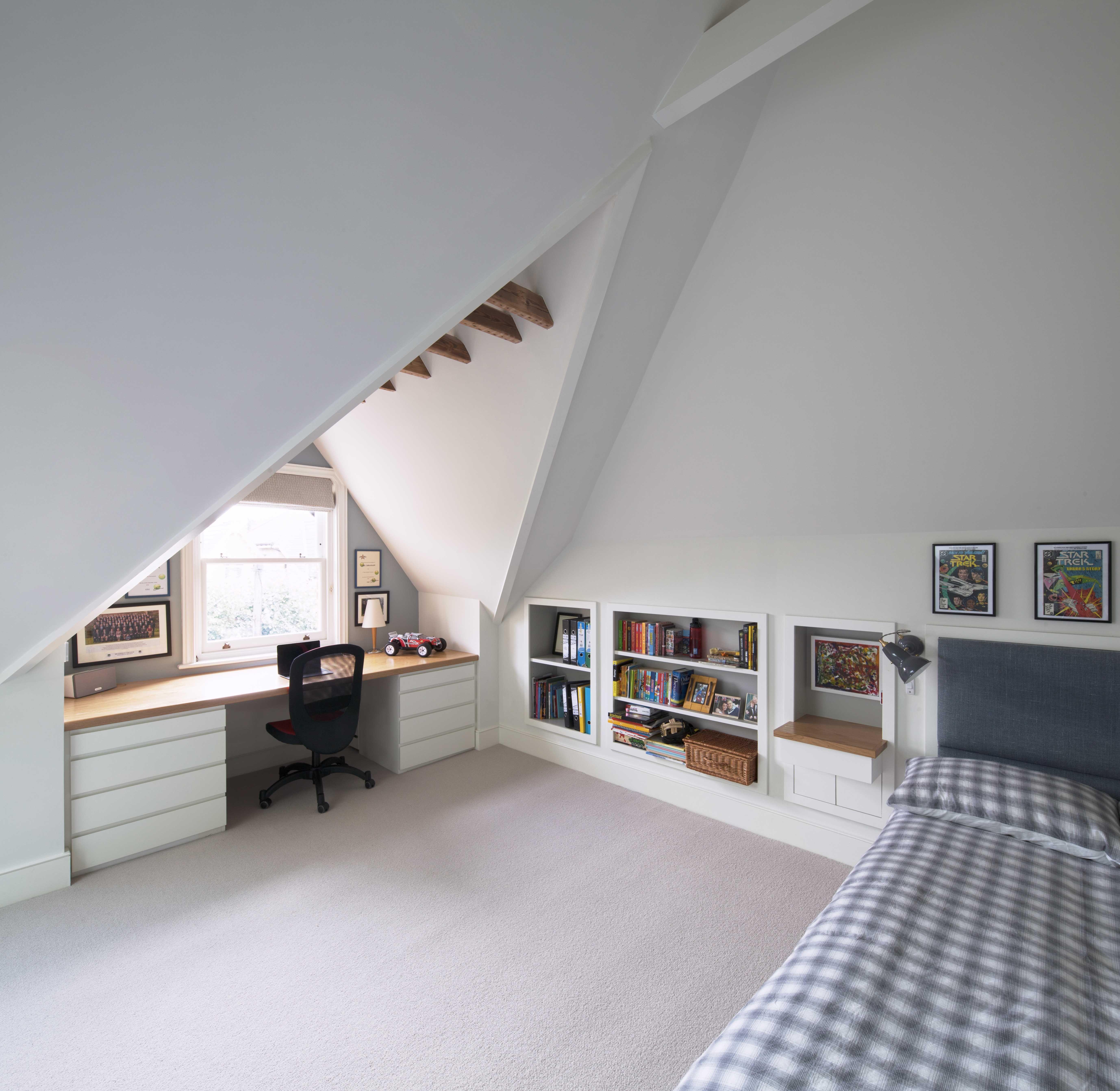 Bedroom Study Area, Desk In Window, Under The Eaves, Oak