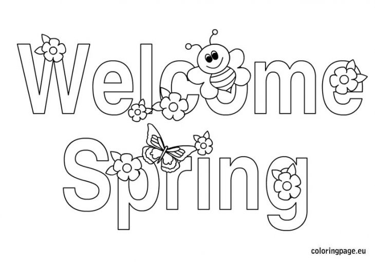 welcome spring with butterfly and bee coloring page - Spring Butterflies Coloring Pages