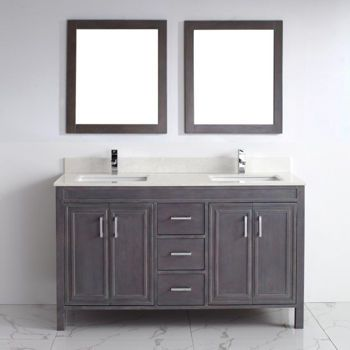 Corniche 60 French Gray Double Sink Vanity By Studio Bathe Claremont Street Master Bath Reno