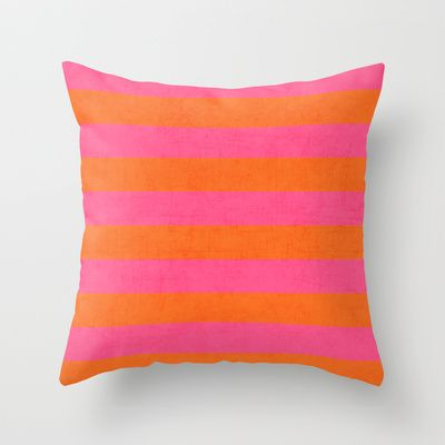 Hot Pink And Orange Stripes Throw Pillow By Her Art Orange Throw