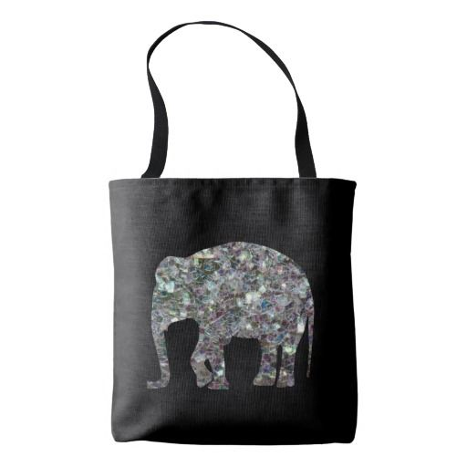Sparkly colourful silver mosaic Elephant on Black All Over Print Tote Bag by #PLdesign #sparkles #SilverSparkles #SparklesGift