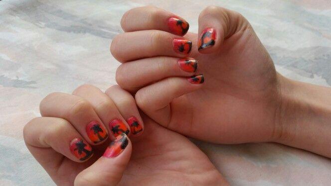 Hawaii nails #tropical #sunset #nailpolish