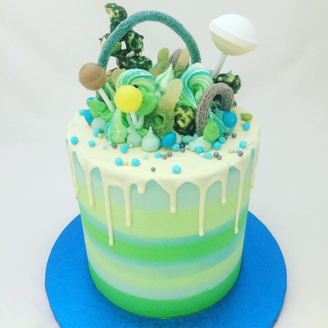 Super Sweetie Cake In Greens And Blues Sweetiecake Stripes