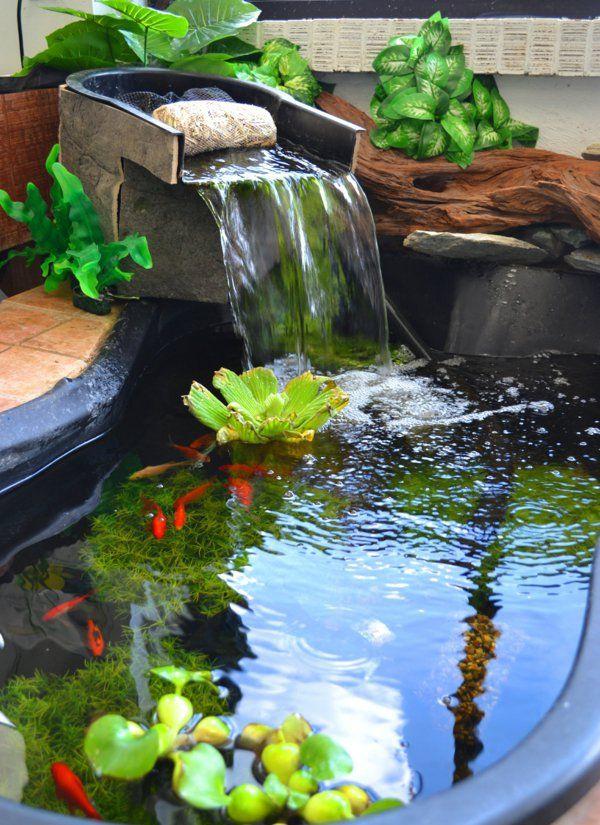 gartenteich bauen wasserpflanzen wasserfall | garten | pinterest, Garten und Bauen