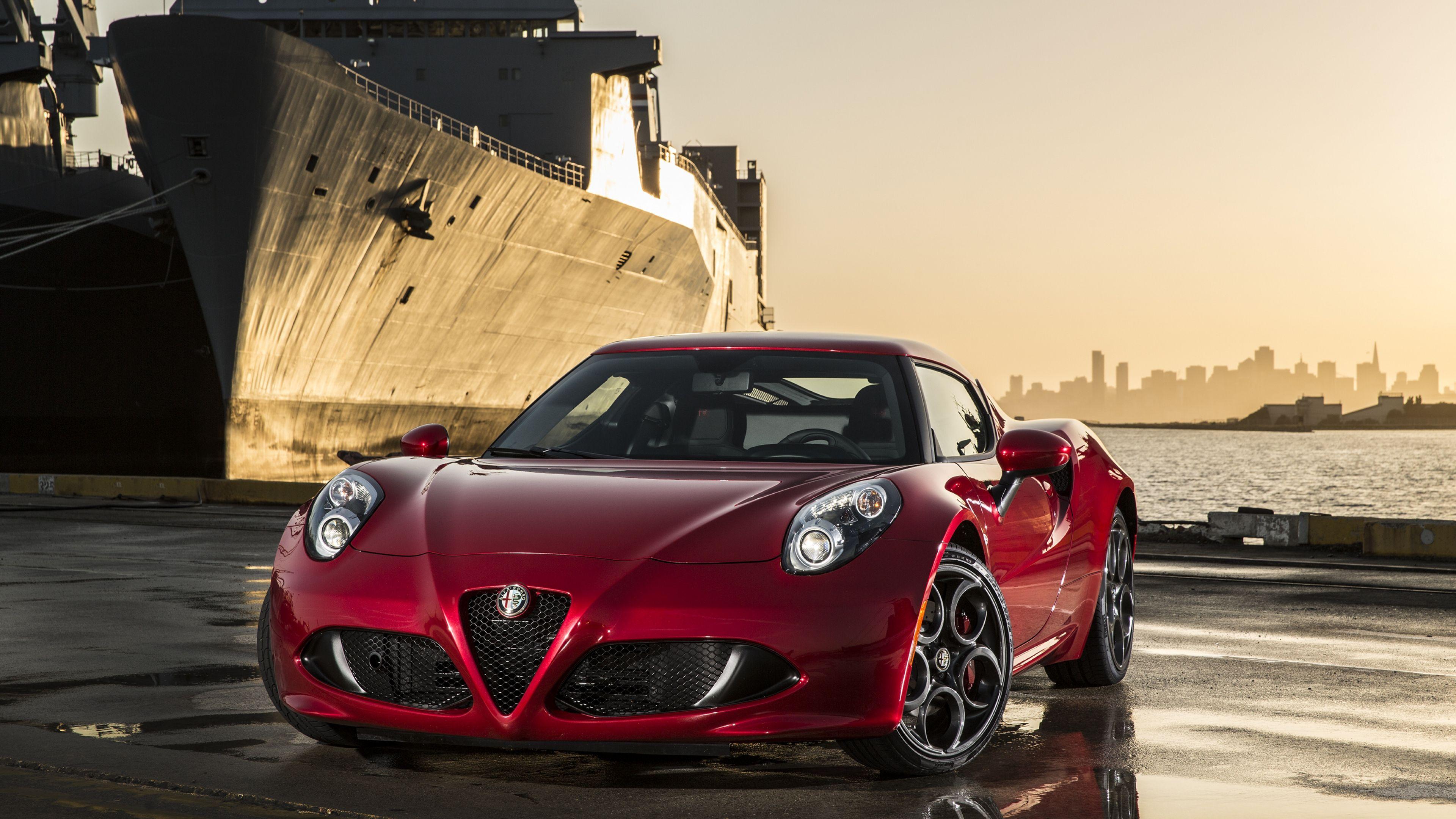 Download Wallpaper 3840x2160 Alfa Romeo 4c 2015 Red Sports Car