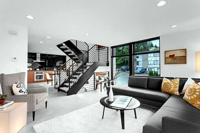 The modern steel staircase inside and outside in the amazing