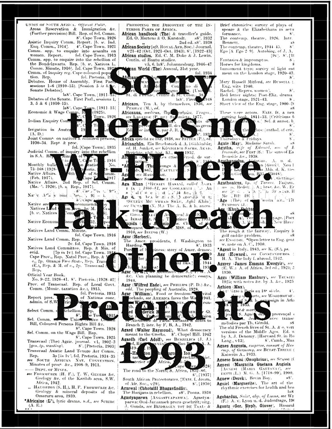 Sorry thereus no wi fi here wall art quote poster typographic