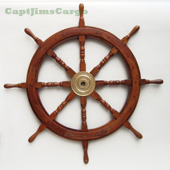 Large 36 Boat Ship Wooden Steering Wheel Br Center Nautical Wall Decor New Nauticalwalldcor
