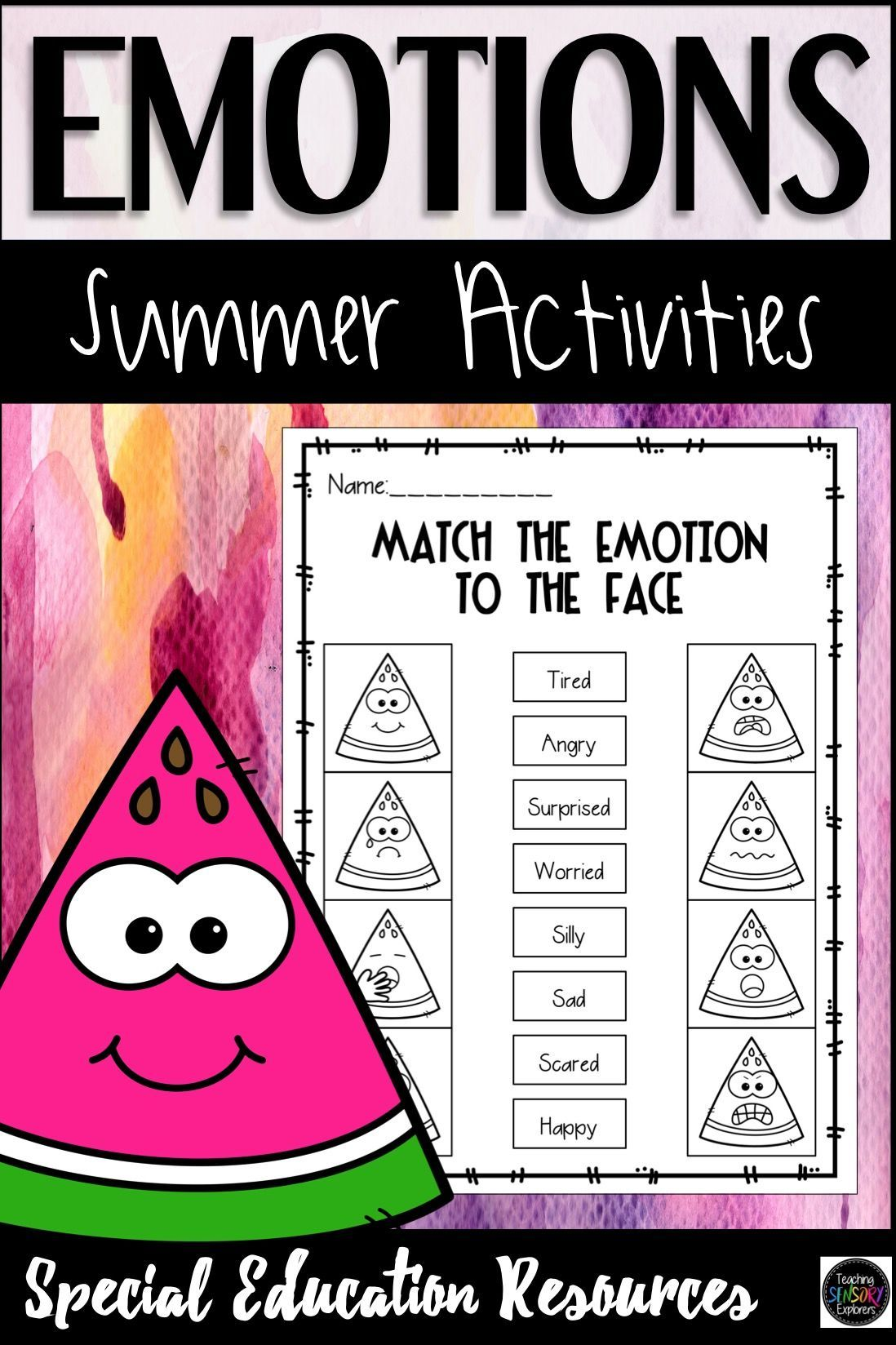 Emotions Activities Summer Themed Special Education